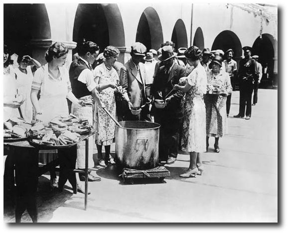 Depression-era bread and soup line.